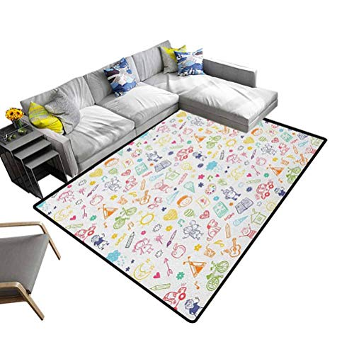 Bathroom Rug Doodle, Princess Room Decor Rug Childlike Drawing of Children Sun Tent Various Other Child Friendly Things Decorative Floor and Best Gift for Children Multicolor, 6.5 x 10 Feet