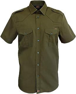 ROCK-IT Apparel® Camisa de Hombre de Manga Corta Camisa de los Estados Unidos con Aspecto Militar Camisa Worker de Tiempo ...