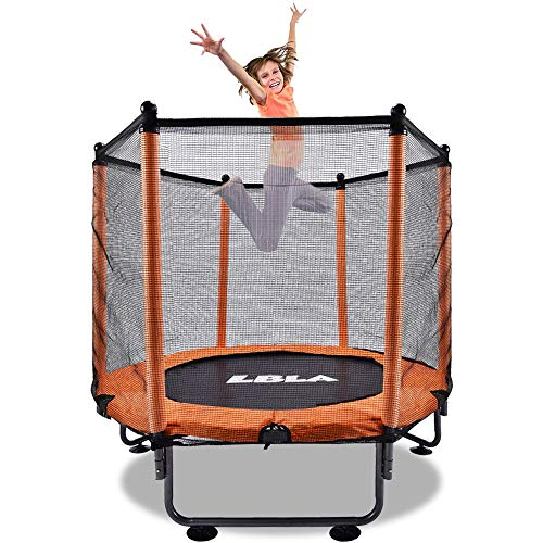 LBLA 48'' Kids Trampoline, Foldable trampoline with Safety Enclosure Netting and Anti-collision foam, Trampoline for Children Jumping and Training indoor/outdoor activities for 4-15 years old