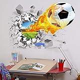 Calcomanía de vinilo extraíble para pared, diseño de fútbol en 3D, para decoración del hogar, 70 cm x 50 cm