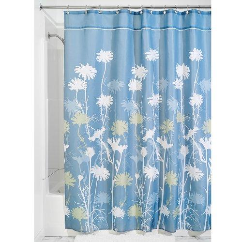 InterDesign Daizy rideau douche, rideau baignoire en polyester de 180,0 cm x 200,0 cm, rideau salle de bain intemporel à tenue stable, bleu/vert