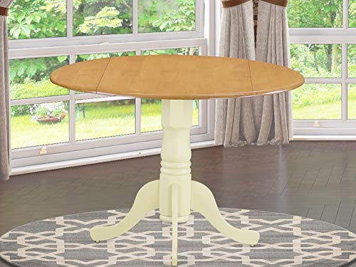East West Furniture DLT-OMK-TP Dublin Table-Oak Table Top Surface and Buttermilk Finish Pedestal Legs Hardwood Frame Round Wooden Table