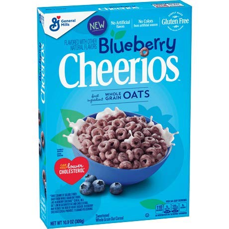 Blueberry Cheerios Cereal, Gluten Free Breakfast Cereal 10.9 oz ( 2 pack )