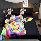 Svvsovs 3D lecho de Imprimir Duvet Cover Set 135 x 200 cm bedcloth con la Funda de Almohada Juego de Cama Textiles for el hogar Individual Doble Rey Queen Size Jirafa Animal Color - Traje de edredón