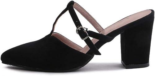 Femmes Pointé Bout Fermé Sandales à Talons Hauts Hauts Hauts Ceinture En Forme De T La Mode Boucle Talon épais Bascule Plage Chaussures Habillées (Hauteur Du Talon  5-7Cm) fab