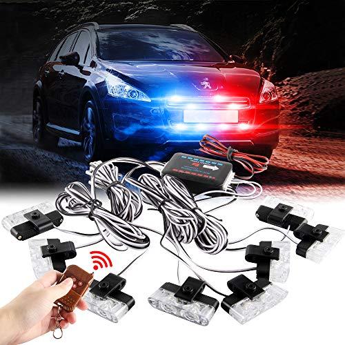 Sidaqi 8x2led 8 en 1 remoto inalámbrico 12 V luz de advertencia estroboscópica parpadeante bomberos luces coche camión Luz LED DRL ambulancia la policía de luz(Rojo&Azul)