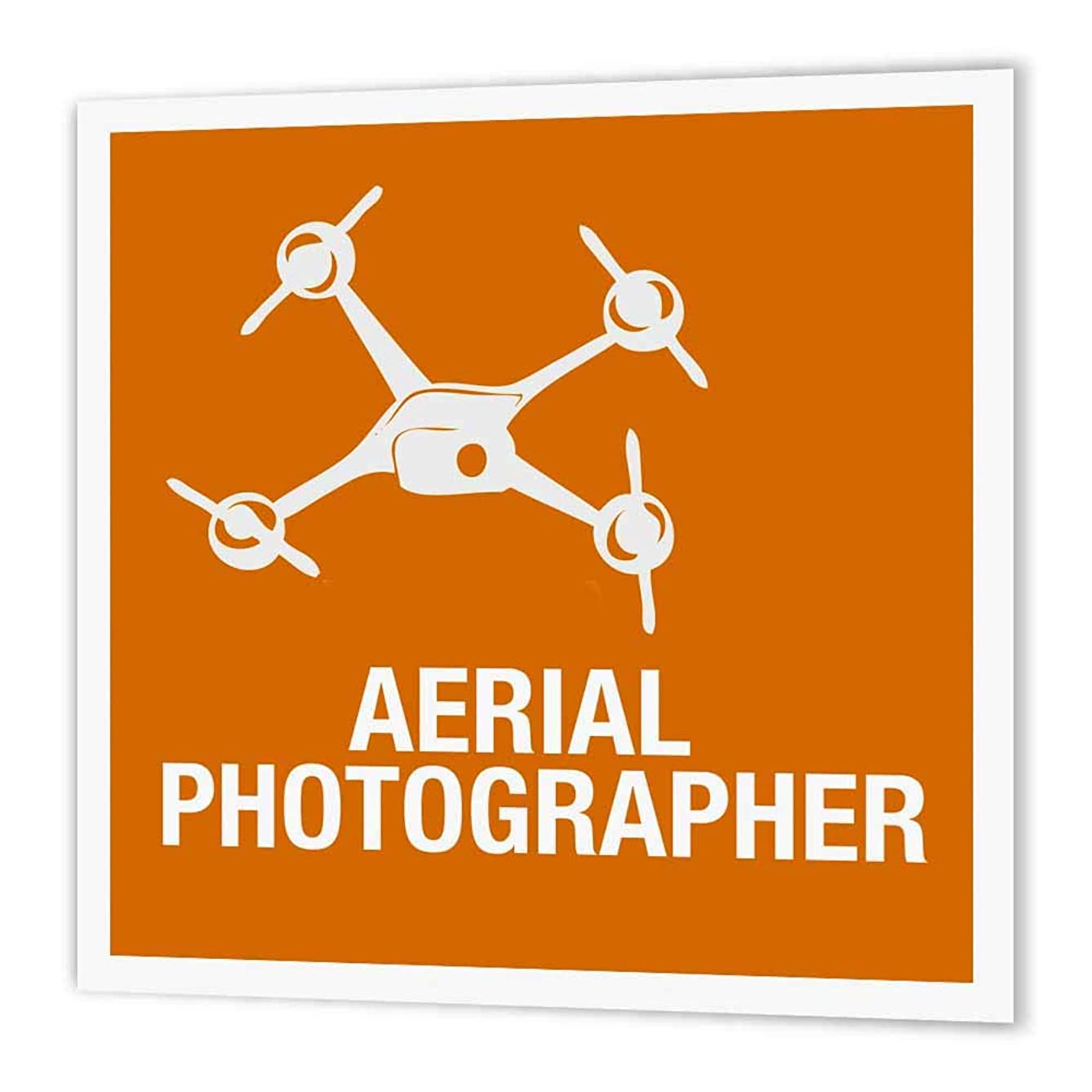 3dRose ht_179920_3 Orange Drone with Aerial Photographer Words-Iron on Heat Transfer Paper for White Material, 10 by 10-Inch