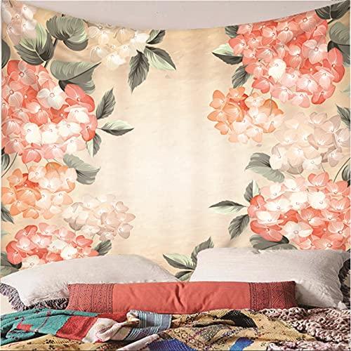 Weibing Tapiz de impresión en Color 3D Estilo nórdico Pintado a Mano patrón de Arte de Flores Creativo decoración Colgante de Pared para Dormitorio Sala de Estar 350(An) x256(H) cm