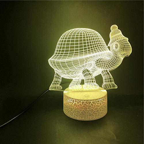 Lámpara de ilusión 3D Luz de noche LED Tortuga con sombrero Sensor táctil USB Decoración para niños Regalo para niños Lámpara de escritorio colorida Los mejores regalos de vacaciones de cumpleaño