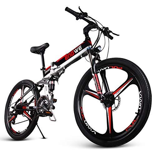 "ENGWE Elektro-Mountainbike 400W 26\""Fettreifen Elektrisch klappbares Strand-Snowbike für Erwachsene, Aluminium-Elektroroller 7-Gang-E-Bike mit Abnehmbarer 48V12,5A-Lithiumbatterie (rot)"