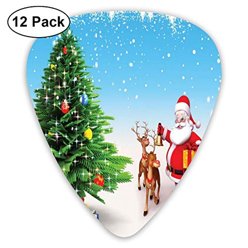 Gitaar Picks12pcs Plectrum (0.46mm-0.96mm), Rendier met Jingle Bells verzamelen rond Vader Kerstmis feestelijke boom met geschenken, voor uw Gitaar of Ukulele