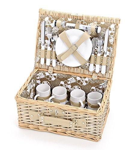 Picknickkorb für 4 Personen aus Weide mit Blumen Muster - 24 teilig - Hochwertiges Picknick Set mit Deckel, Geschirr Set & Zubehör - Grün Weiß