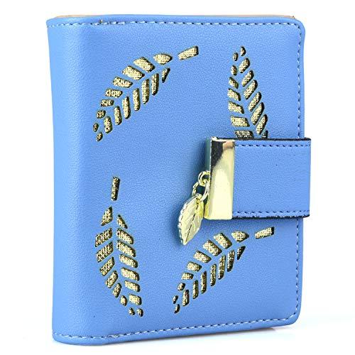 Damen Geldbörse Frauen Kleine Brieftasche Geldbeutel aus PU Leder mit Blatt Anhänger Kartensteckplätze ID Fenster