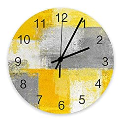 12 Inch Silent Non-Ticking Wall Clock Minimalist Bright Yellow Gray Abstract Geometric Oil Painting Style Battery Operated Round Wooden Wall Clock Roman Numeral Clock Wall Decor Home Decor