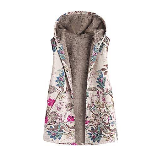 Manteau à Capuche Femme Hiver Chaud Grande Taille Blouson avec Capuche Poche Outwear Décontracté Gilet sans Manches Waistcoat Cardigan Coupe-Vent Parka Veste Imprimé Floral