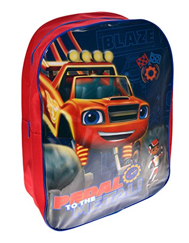 Kids Childrens Boys Girls Blaze And The Monster Machines Character 'Pedal To The Metal' Blue Red Backpack Bag