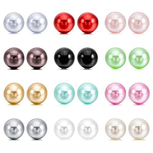 Perlas de imitacion Pendientes Conjunto - TOOGOO(R)4~10mm 24 Pieza Acero Inoxidable Resina Semental Pendientes Conjunto Set...