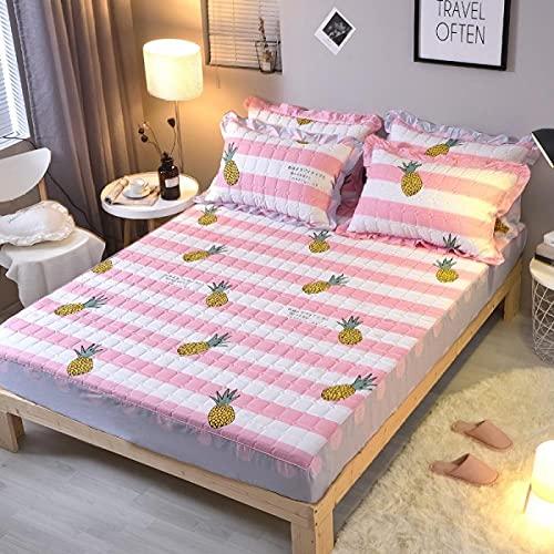 XGguo colchón Acolchado, antialérgico antiácaros, Funda Antipolvo de una Sola Pieza para sábana de algodón-23_120 * 200CM