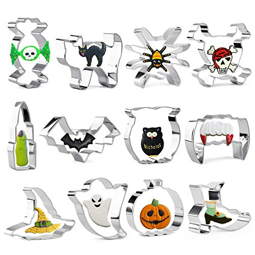 Iindes Halloween Cookie Cutter Set of 12 - Cat, Pumpkin, Witch's Hat, Ghost, Skull, Bat, Spider, Owl, Finger, Witch's Shoes, Vampire Teeth and Candy - Stainless Steel Fondant Biscuit Cutter