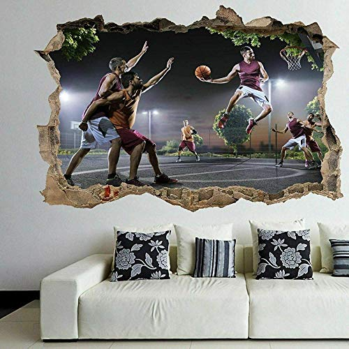 Pegatinas de pared Jugadores de baloncesto pared arte pegatina mural calcomanía niños dormitorio decoración del hogar Póster Arte 3D Mural 50x70cm