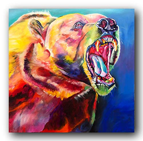 Bild, Gemälde, Sabrina Seck, Bär, Unikat, öl, abstrakt, handmade, original, painting, acryl, modern, XXL, Dekoration, Titel: Ruf der Wildnis (100 cm x 100 cm)