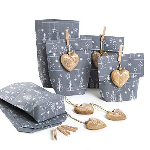 Logbuch-Verlag - 6 sacchetti regalo in carta grigio e bianco + 6 ciondoli a forma di cuore in legno naturale + mollette di legno
