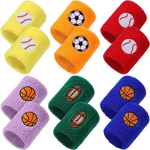 36 Stück Sport Armbänder für Kinder, Fußball Basketball Fußball Baseball Design Armbänder Bunte Baumwolle Handgelenk Schweißbänder für Sport Party Gefälligkeiten, Party Tasche Geschenkfüller, 6 Farben
