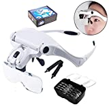 12shage 5 Magnification Magnifying Glass Head with 2 LED Light Emitting Diode Headset Leichte Stirnband Lupe Gläser für 1,0X 1,5X 2,0X 2,5X 3,5X Einstellbare 5 Objektiv Lupe Led Stirnband Glas Lupe