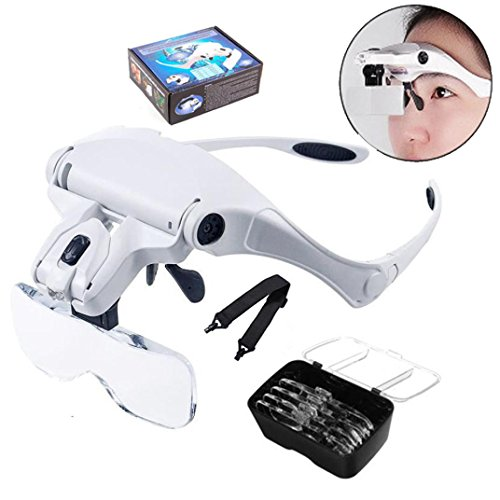 12shage 5 Magnification Magnifying Glass Head with 2 LED Light Emitting Diode Headset Leichte Stirnband Lupe Gläser für 1,0X 1,5X 2,0X 2,5X 3,5X Einstellbare 5 Objektiv Lupe Led Stirnband Glas Lupe