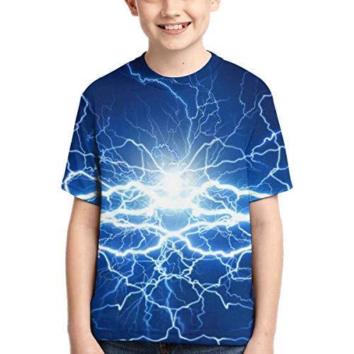 XCNGG Niños Tops Camisetas Youth Short Sleeve T-Shirts Lightning Electrical Power Kids Casual Graphics Tees