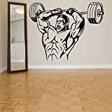 Sala de Fitness casera Etiqueta de la Pared Decorativa Pegatina Fitness Culturismo Volumen de Ejercicio para Encontrar Peso Muscular Fondo de Pantalla con Mancuernas 101x80cm