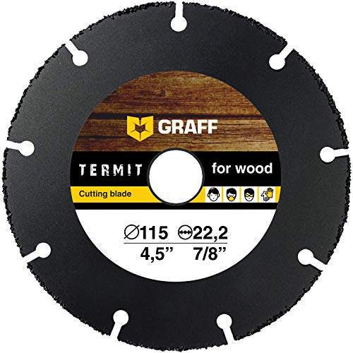 GRAFF TERMIT 4 1/2 Cut Off Wheel for Cutting Wood, Laminate, Plastic for Angle Grinder - Tungsten Carbide - 115 mm