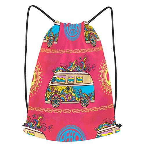 YMWEI Impermeable Bolsa de Cuerdas Saco de Gimnasio mini furgoneta de coches antiguos hippie color Deporte Mochila para Playa Viaje Natación