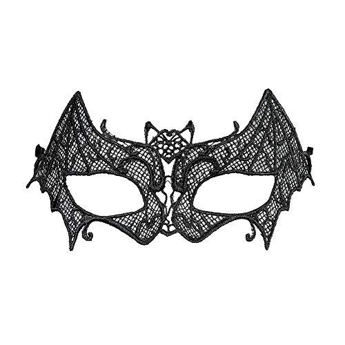 Widmann 04741 – Augenmaske Fledermaus, aus Spitze, Schwarz, Maske, venezianischer Karneval, Gran Gala, Motto Party, Maskenball, Karneval, Halloween