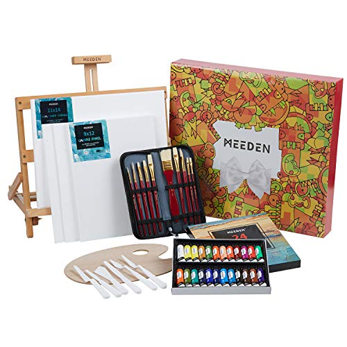 MEEDEN 46-Piece Oil Painting Set with Beech Wood Table Easel, 12MLX24 Oil Paint Tubes and All The Additional Supplies, Perfect for Beginning Artists, Students and Kids