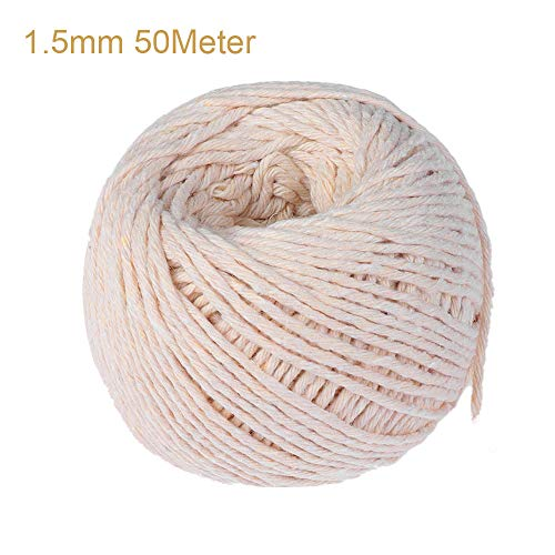 VAVAMAX - Cordón Trenzado de algodón 100% Natural Beige para Manualidades, macramé Artesanal, Bricolaje, decoración del hogar, Embalaje Hecho a Mano, 1.5mm 50Meter