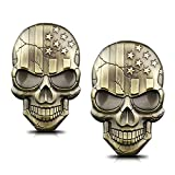 WOSITE 2Pcs 3D Metal USA Flag Skull Emblem Badge 3D Raised & Strong Adhesive Car Skeleton Head Sticker Decals Suitable for All Vehicles Car Truck Bicycle Motorcycle