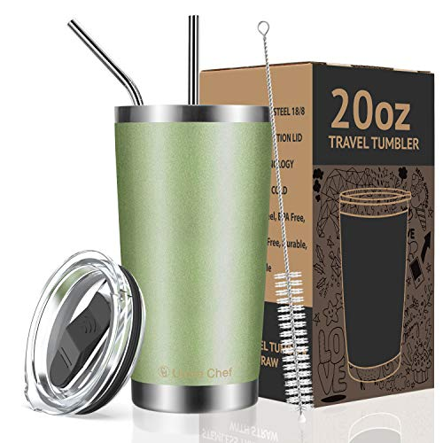 Umite Chef 20oz Tumbler Double Wall Stainless Steel Vacuum Insulated Travel Mug with Lid, Insulated Coffee Cup, 2 Straws, for Home, Outdoor, Office, School, Ice Drink, Hot Beverage (20 oz, Green)