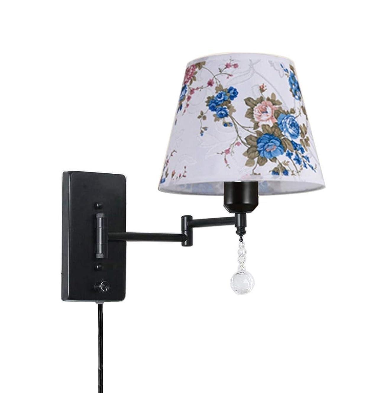 抜け目がないマウスクラブウォールランプ プラグインE26 E27メタル&クロスシェードリビングルームの寝室読書壁ランプをスイングアーム壁取り付け用燭台 (Color : Black Button switch, Size : 12.6