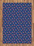 ABAKUHAUS Cabina telefonica Moquette Tessuta Piatta, Iconic London Casella di Chiamata, per Soggiorno Camera da Letto Sala da Pranzo, 160 x 230 cm, Cobalt Blue Vermilion