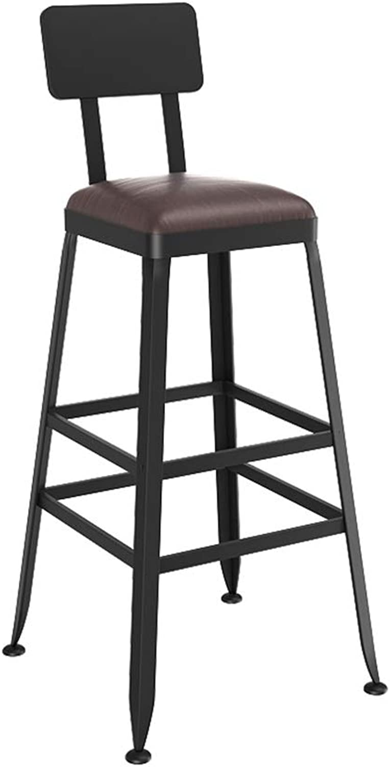 Barstool Iron Breakfast Dining Stool for Kitchen Bar Counter Home Commercial Chair High Stool with Backrest and PU Cushion LOFT Industrial Style (Size   Height 65cm)