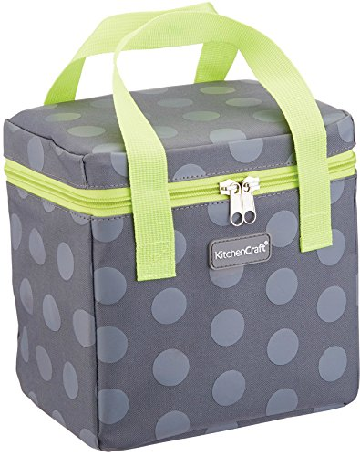 Kitchen Craft KCGRNSPT6TALL Small Lunch Cool Bag, 4.9 L (1 Gal) - Spotty Grey/Lime, Fabric, Multi-Colour, 14 x 20 x 20 cm