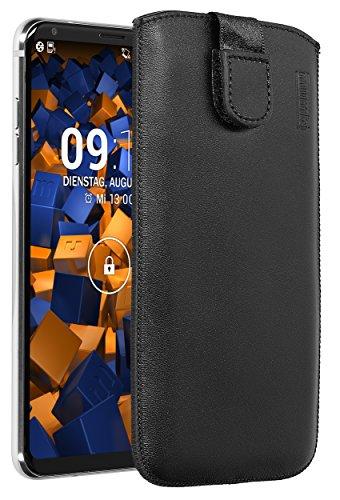 mumbi Echt-Leder Tasche kompatibel mit LG V30 / V30S ThinQ, (Lasche mit Rückzugfunktion, Ausziehhilfe), schwarz