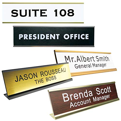 Personalized Name Plate with Wall or Desk Holder 2' x 8' Customize Engraving Office Wall NamePlates with Holder 200 x 50 mm
