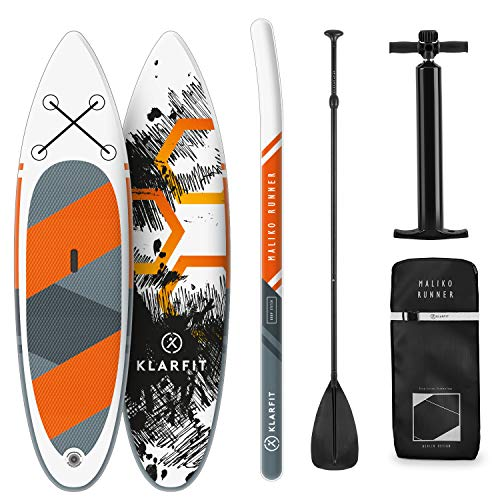 Klarfit Tabla Paddle Surf Hinchable - MALIKO 305x10x77cm Sup Surf, Paddleboard, Bomba de Aire, Pala, Correa de Seguridad, Mochila de Transporte, Kit reparación, Naranja, DropStitch Technology