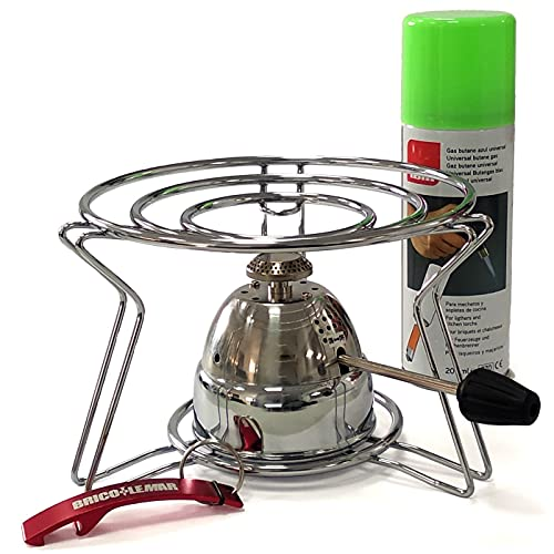 Pack Quemador Gas Gourmet + Soporte + Cartucho Recarga Compatible Gas Azul + Llavero de Regalo (1 Quemador + 1 Soporte + 1 Gas Azul)