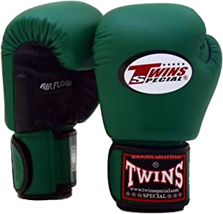 Twins Special Muay Thai Boxing Gloves BGVLA 2 Air Flow Gloves. Univesal Gloves for Training or Sparring. (Black/Dark Green, 12 oz)