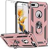 Funda para iPhone 8 Plus,iPhone 7 Plus,iPhone 6s Plus/6 Plus,funda protectora de pantalla de 360 grados,anillo de metal giratorio delgado,absorción de golpes,esquinas reforzadas TPU 5.5'Rose gold