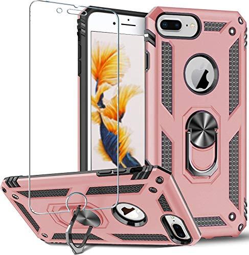 Funda para iPhone 8 Plus,iPhone 7 Plus,iPhone 6s Plus 6 Plus,funda protectora de pantalla de 360 grados,anillo de metal giratorio delgado,absorción de golpes,esquinas reforzadas TPU 5.5 Rose gold