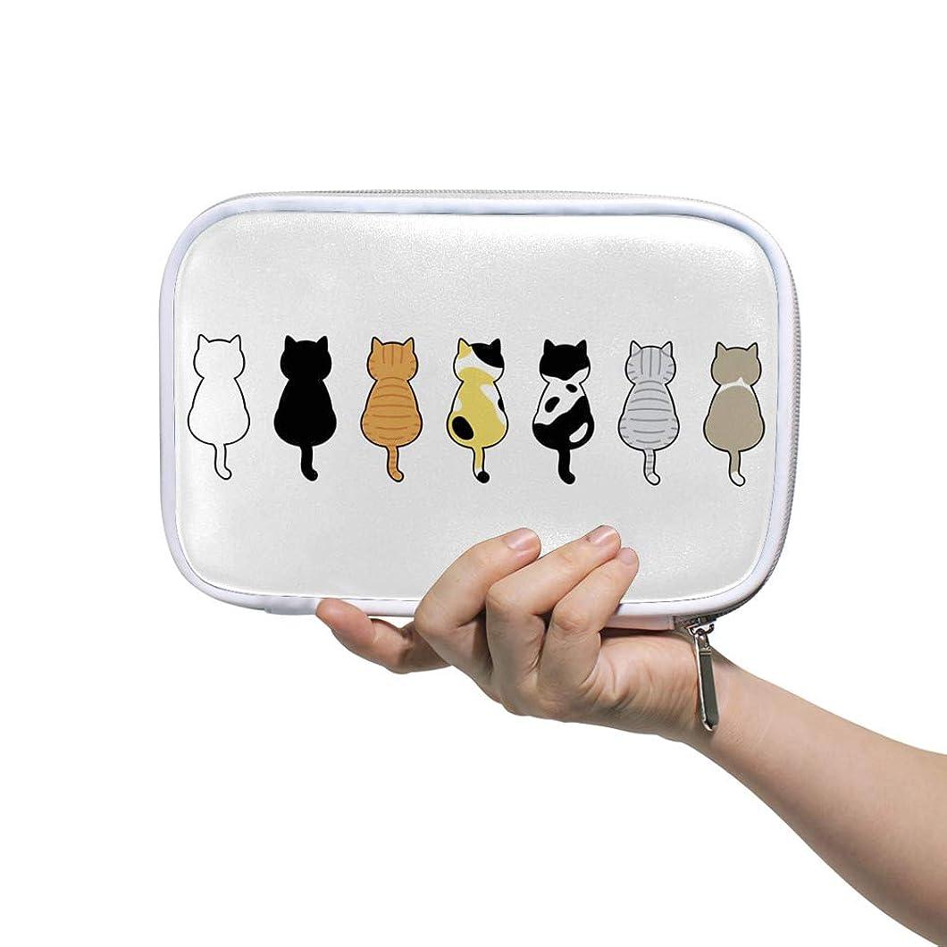 アルファベット上陸抜本的なZHIMI 化粧ポーチ メイクポーチ レディース コンパクト 柔らかい おしゃれ コスメケース 化粧品収納バッグ 可愛い 猫の背景 機能的 防水 軽量 小物入れ 出張 海外旅行グッズ パスポートケースとしても適用